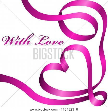 Pink decoration ribbon curled in heart shape isolated on white background.