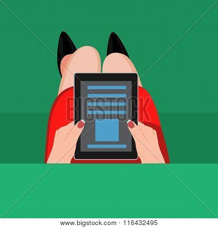 Hands holding digital tablet . Vector illustration