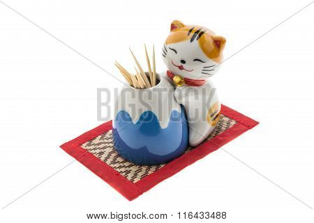 Ceramic Cats Is A Toothpick Holder.