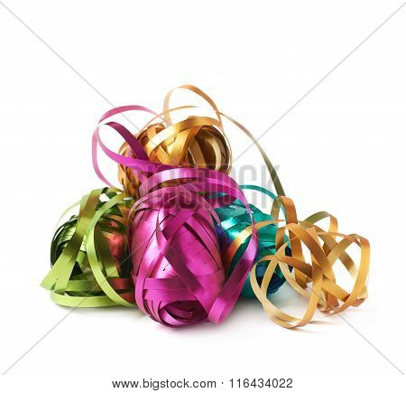 Glossy ribbon reels isolated