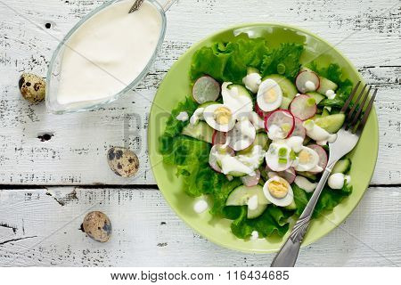 Salad On A Plate Of Radish, Egg, Cucumber With Sour Cream, View From Above.