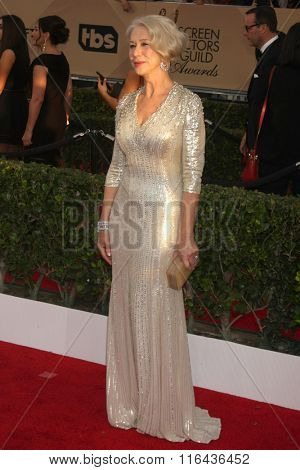 LOS ANGELES - JAN 30:  Helen Mirren at the 22nd Screen Actors Guild Awards at the Shrine Auditorium on January 30, 2016 in Los Angeles, CA