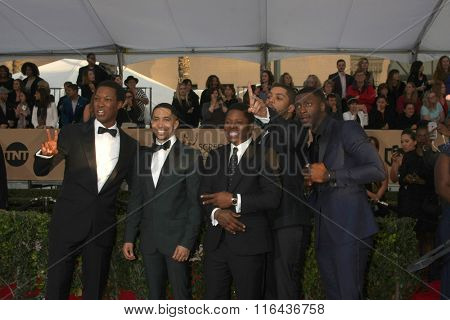 LOS ANGELES - JAN 30:  Corey Hawkins, Neil Brown Jr., Jason Mitchell, O�¢??Shea Jackson Jr., Aldis Hodge at the 22nd SAG Awards at the Shrine Auditorium on January 30, 2016 in Los Angeles, CA