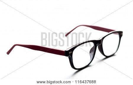 Soft Focus Eye Glasses On White Background. Selecttive Focus