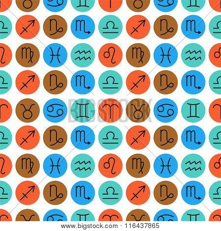 Seamless pattern of zodiac signs for horoscopes, predictions
