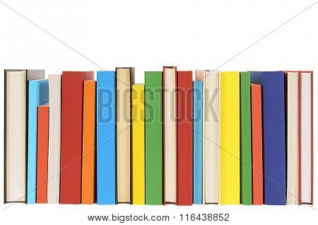 Row Of Colorful Library Books Isolated On White Background