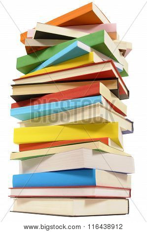 Very Tall Pile Of Books Isolated On White Background, Low Angle View