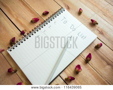 To Do List Notebook With Pencil And Rose On Wood Floor , Digital Effect Vintage Style