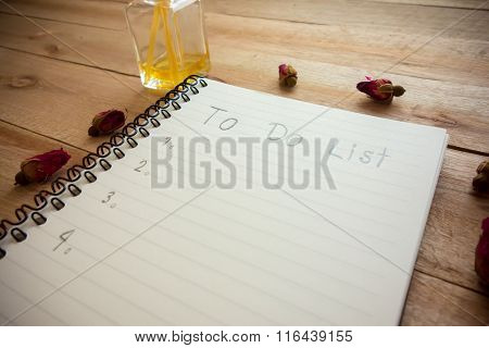 To Do List Notebook With Rose And Perfume On Wood Floor , Digital Effect Vintage Style