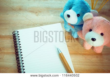 Blank Notebook With Copy Space And Pencil,couple Teddy Put On The Wood Floor , Digital Effect Vintag