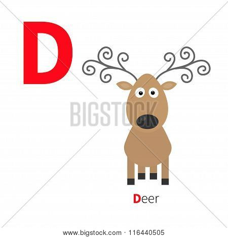 Letter D Deer Zoo Alphabet. English Abc With Animals Education Cards For Kids Isolated White Backgro