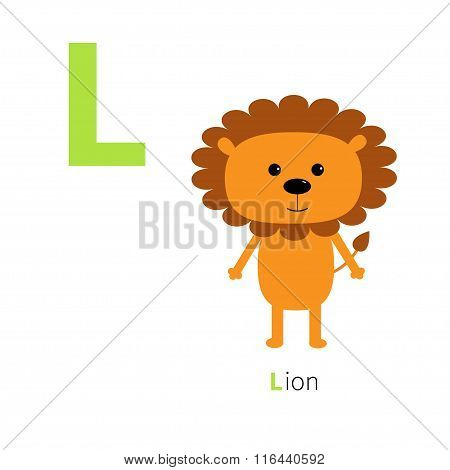 Letter L Lion Zoo Alphabet. English Abc With Animals Education Cards For Kids Isolated White Backgro