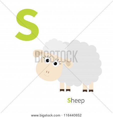 Letter S Ship Zoo Alphabet. English Abc With Animals Education Cards For Kids Isolated White Backgro