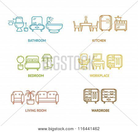 Colorful Icon Room Furniture Outline. Vector