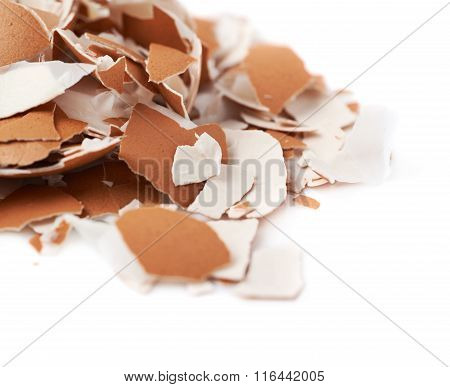 Pile of cracked egg shells isolated