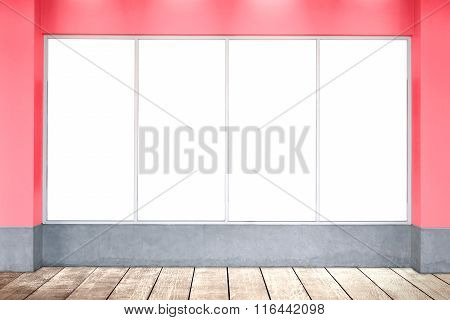 White bill board and wood floor on backdrop background.