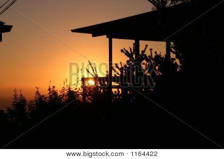 Sonnenuntergang am Strandhaus