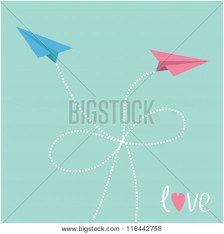 Origami Paper Plane In The Sky With Dash Line Bow. Love Card.