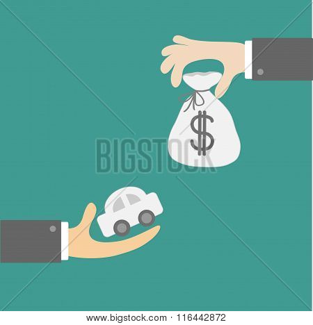Hands With Car And Money Bag. Exchanging Concept. Flat Design St