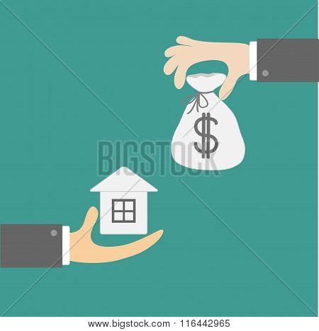 Hands With House And Money Bag. Exchanging Concept. Flat Design