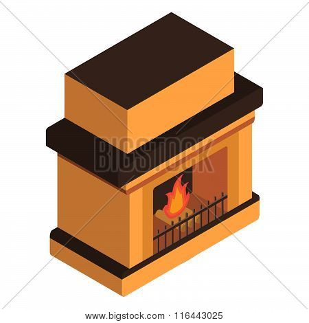 isometric fireplace with the burning fire