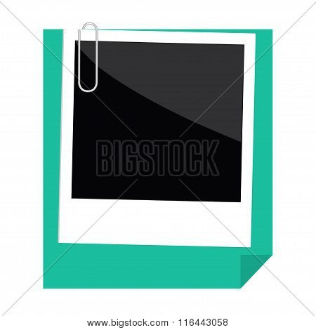 Instant Photo, Paperclip And Green Paper With Folded Corner