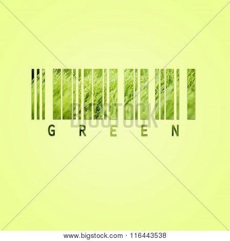 Bar code with fresh green grass