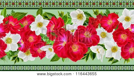 Horizontal Floral Border Pattern, Seamless, Red Roses, Floral Arrangement,white Flowers Anemones