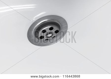 Standard Round Drain Hole In White Domestic Sink, Macro