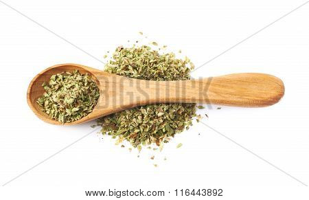 Pile of oregano seasoning isolated