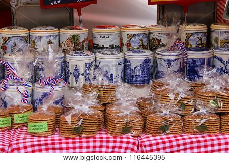 Traditional Holland Souvenirs At The Street Shop On The Grote Markt In Haarlem, The Netherlands