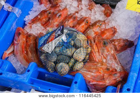 Sale Of Fresh Seafood In The Market On The Grote Markt In Haarlem, The Netherlands