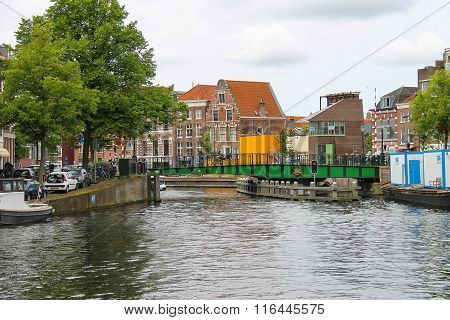 View Of River Spaarne Canal In Haarlem, The Netherlands