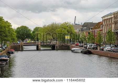 View Of River Canal (nieuwe Gracht) In Haarlem, The Netherlands