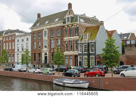 Old Buildings Near The River Canal (nieuwe Gracht) In Haarlem, The Netherlands