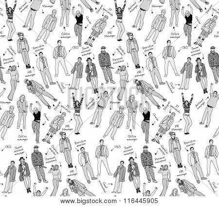 Business company team people with post gray scale seamless pattern.