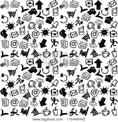 Business icons doodles black and white seamless pattern.