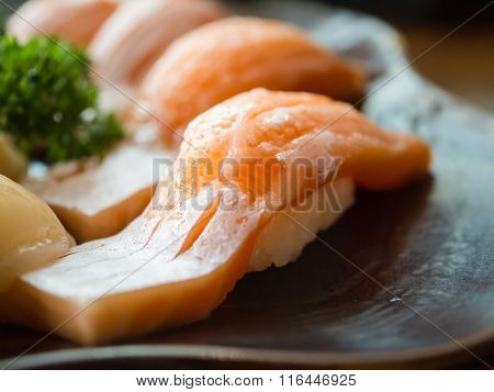 Toro Salmon Or Fatty Salmon Sushi, Background Concept