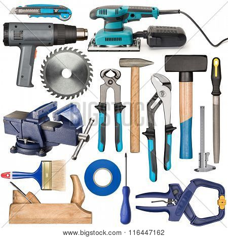 Set of various isolated hand tools for manual work.
