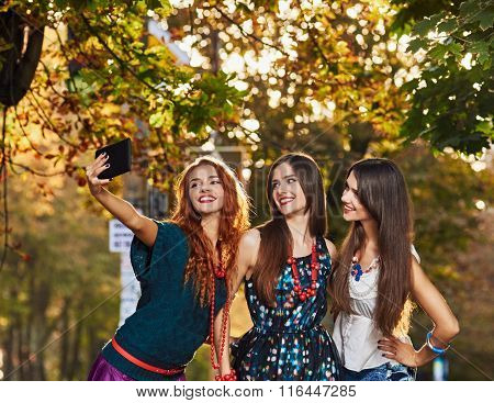 Girls Friends making selfie