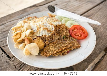 Traditional Nasi Goreng with fried egg and tempe