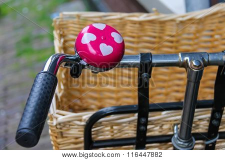 Pink Bicycle Bell With White Hearts On Handlebars