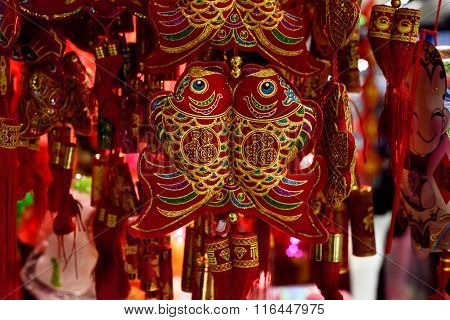 Chinese red and golden fish decorations
