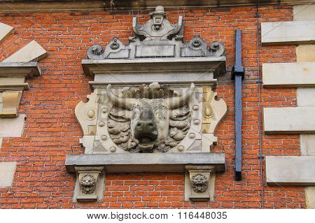 The Ox-head On The Building Of The Vleeshal (meat-hall) At The Grote Markt In Haarlem. The Netherlan
