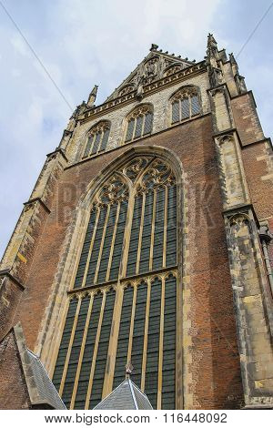Facade Of The Grote Kerk (sint-bavokerk) In The  Historic Center Of Haarlem, The Netherlands