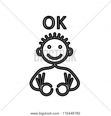 Okay man silhouette - vector stick figure