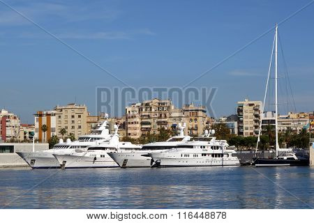 BARCELONA, SPAIN - OCTOBER 14, 2014: Boats and yachts parked at port of Barcelona, Spain