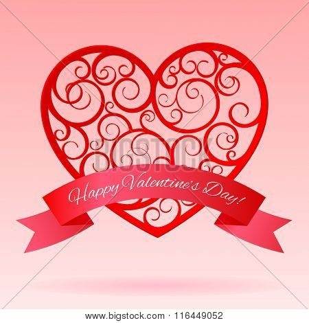 Red decorative paper hearts with banner. Valentine greeting card. Vector illustration
