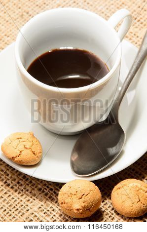 Freshly Brewed Espresso In A Cup And Biscuit