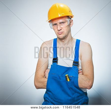 Annoyed Young Builder